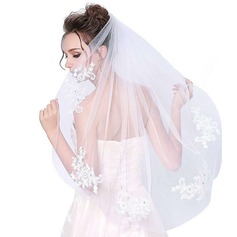 One-tier Cut Edge Elbow Bridal Veils With Applique