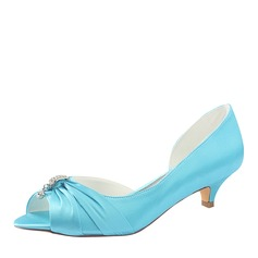 Women's Silk Like Satin Kitten Heel Peep Toe With Crystal