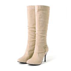Kvinder Ruskind Stiletto Hæl Støvler Mid Læggen Støvler med Spænde sko