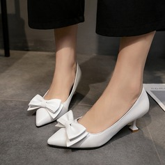 Women's PU Spool Heel Pumps Closed Toe With Bowknot shoes