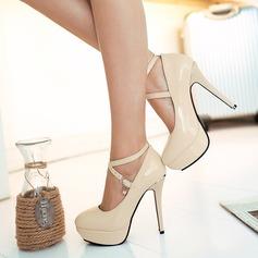 المرأة براءات الاختراع والجلود كعب ستيليتو مضخات منصة مع مشبك أحذية