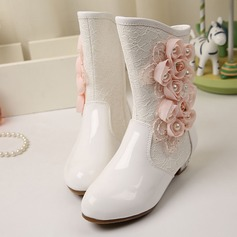 Girl's Closed Toe Leatherette Low Heel Flats Boots Flower Girl Shoes With Beading Flower Applique