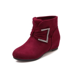 Women's Suede Wedge Heel Ankle Boots With Rhinestone Buckle shoes