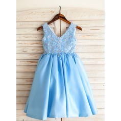 A-Line/Princess Tea-length Flower Girl Dress - Satin/Cotton Sleeveless V-neck With Appliques/Sequins