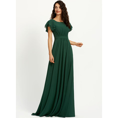 A-Line Scoop Neck Floor-Length Bridesmaid Dress With Ruffle