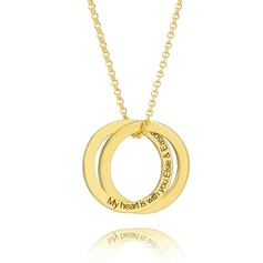 Custom 18k Gold Plated Silver Cross Circle Engraved Necklace Circle Necklace - Valentines Gifts