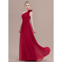 A-Line/Princess One-Shoulder Floor-Length Chiffon Prom Dresses With Ruffle Flower(s)