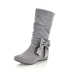 Women's Suede Low Heel Mid-Calf Boots With Bowknot shoes