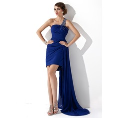 Sheath/Column One-Shoulder Watteau Train Chiffon Cocktail Dress With Ruffle Beading