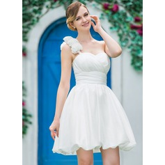 A-Line/Princess One-Shoulder Short/Mini Taffeta Wedding Dress With Ruffle Flower(s)