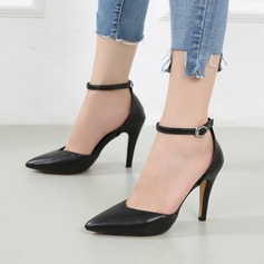 Women's Patent Leather Stiletto Heel Sandals Closed Toe With Rhinestone Buckle shoes (085132407)
