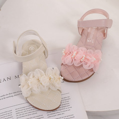 Girl's Peep Toe Leatherette Low Heel Flower Girl Shoes
