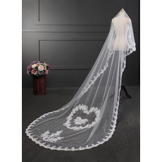 One-tier Lace Applique Edge Cathedral Bridal Veils With Lace (006114047)