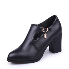 Women's PU Chunky Heel Boots Ankle Boots With Rhinestone Zipper shoes