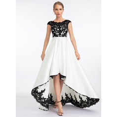 Scoop Neck Asymmetrical Satin Wedding Dress (265230836)