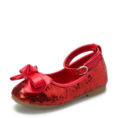 Girl's Closed Toe Fabric Flat Heel Flats Flower Girl Shoes With Bowknot Sequin Velcro