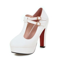 Women's Leatherette Chunky Heel Closed Toe Platform Pumps With Buckle