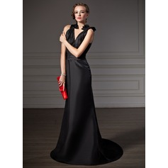 Trumpet/Mermaid V-neck Sweep Train Taffeta Evening Dress With Ruffle