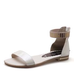 Kvinner PU Flat Hæl Sandaler Flate sko med Paljetter sko