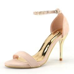 Femmes Suède Mesh Talon stiletto Escarpins À bout ouvert avec Perle d'imitation Autres Lanière tressé Semelle chaussures