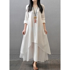 Linen With Stitching Maxi Dress (199137627)