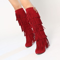 Women's Suede Stiletto Heel Pumps Boots Knee High Boots With Tassel shoes (088140210)