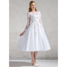 Ball-Gown/Princess Illusion Tea-Length Tulle Wedding Dress With Appliques Lace