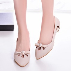 Women's Patent Leather Flat Heel Flats Closed Toe With Bowknot Imitation Pearl Hollow-out shoes (086117654)
