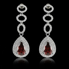 Unique Copper/Zircon/Platinum Plated Ladies' Earrings