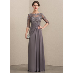 A-Line/Princess Scoop Neck Floor-Length Chiffon Lace Mother of the Bride Dress With Beading Sequins (008152153)