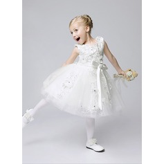 A-Line/Princess Tea-length Flower Girl Dress - Tulle Sleeveless Jewel With Flower(s)/Sequins/Bow(s)