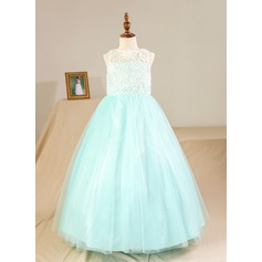 Ball Gown Floor-length Flower Girl Dress - Tulle/Lace Sleeveless Scoop Neck (Petticoat NOT included)