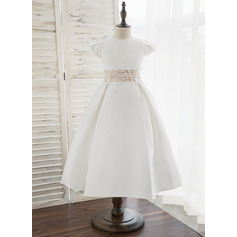 Tea-length Flower Girl Dress - Satin Short Sleeves Scoop Neck (269201385)