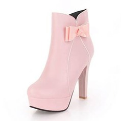Women's Leatherette Chunky Heel Pumps Platform Boots With Bowknot shoes