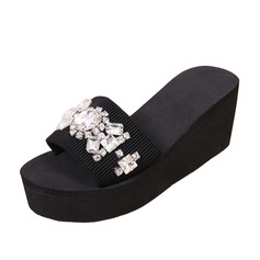 Women's Cloth Wedge Heel Sandals Slippers With Rhinestone shoes (087089790)