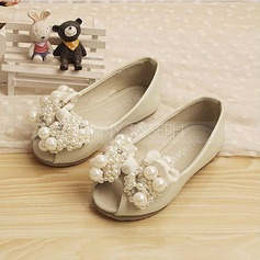 Girl's Leatherette Flat Heel Peep Toe Flats With Bowknot Imitation Pearl