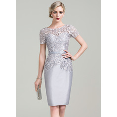 Sheath/Column Scoop Neck Knee-Length Taffeta Lace Cocktail Dress (016096566)