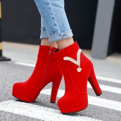 Women's Suede Chunky Heel Pumps Platform Boots With Rhinestone Zipper shoes