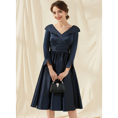A-Line V-neck Knee-Length Satin Cocktail Dress With Ruffle