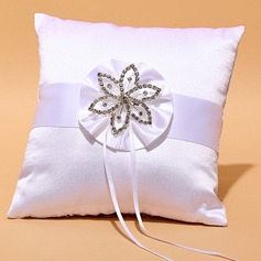 Square Ring Pillow in Satin With Ribbons/Rhinestones