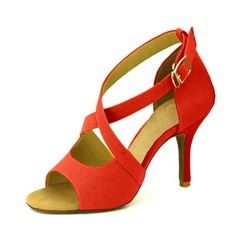 Women's Suede Heels Latin With Buckle Hollow-out Dance Shoes