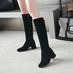 Women's Suede Chunky Heel Pumps Knee High Boots With Zipper shoes (088145078)