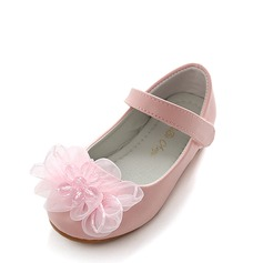 Jentas Round Toe Lukket Tå Mary Jane Leather flat Heel Flate sko Flower Girl Shoes med Sateng Sløyfe Velcro Crystal