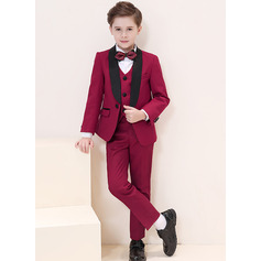 Boys 5 Pieces Formal Ring Bearer Suits /Page Boy Suits With Jacket Shirt Vest Pants Bow Tie (287204952)