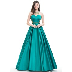 Ball-Gown Scoop Neck Floor-Length Satin Prom Dresses With Beading Sequins