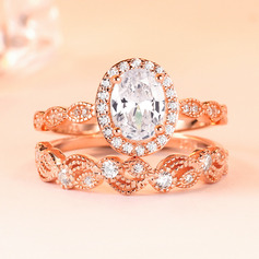 Sterling Silver Cubic Zirconia Stackable Halo Oval Cut Engagement Rings Bridal Sets (289224740)