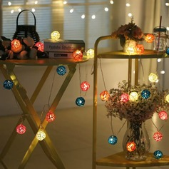 Color Rattan Balls LED Lights String 5M x 20 LEDs DIY Wedding Party Decoration or Christmas Decor