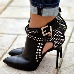 Women's PU Stiletto Heel Pumps Boots Ankle Boots With Rivet Buckle Zipper shoes (088148346)