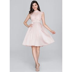 A-Line/Princess High Neck Knee-Length Satin Cocktail Dress