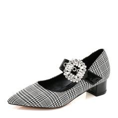Kvinner Stoff PU Stor Hæl Lukket Tå med Rhinestone Spenne sko